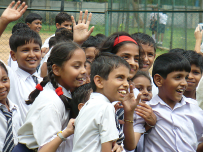 School children at the Kendriva Vidvalava School in Delhi, India