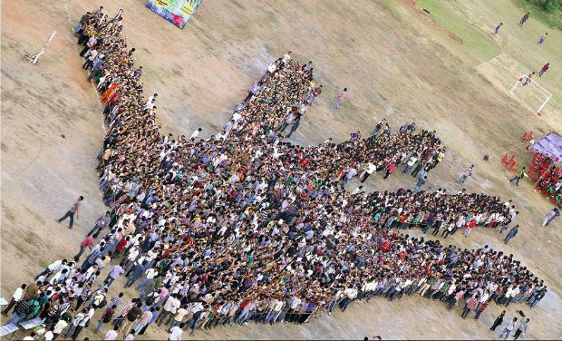 VIT University breaks Guinness world record with its giant hand!