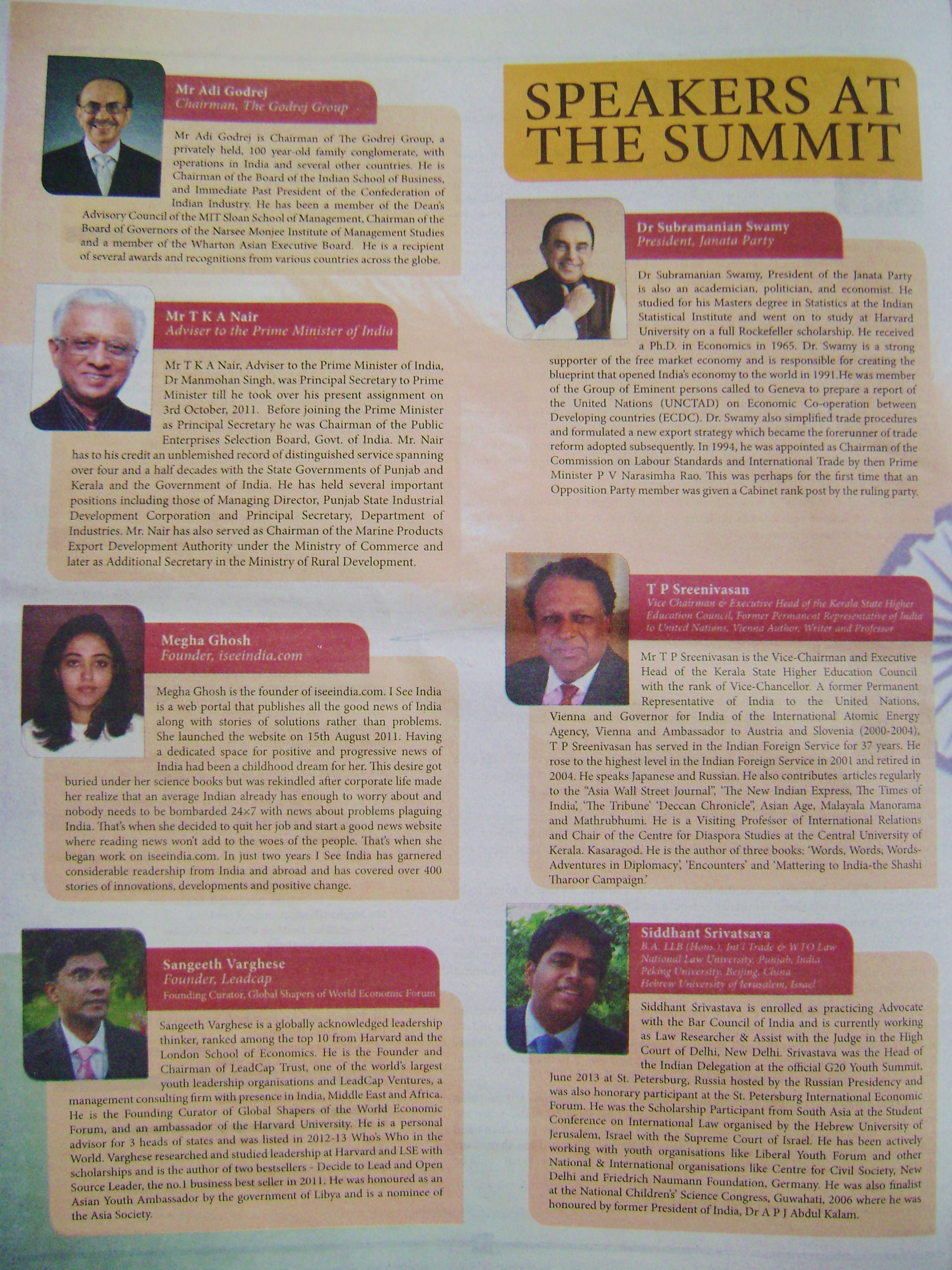 Speakers at the summit